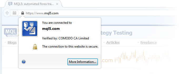 Have you already noticed the icon with a lock in front of MQL5.com in the browser address bar? 