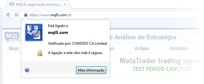Você já reparou no ícone com um cadeado ao lado do endereço MQL5.com na barra de endereços de seu navegador? Isso significa que o site está agora operando via protocolo HTTPS com suporte para criptografia. Anteriormente, este protocolo foi habilitado somente para o espaço privado - os perfis de usuário. Agora, todo o site foi completamente reestruturado para HTTPS.