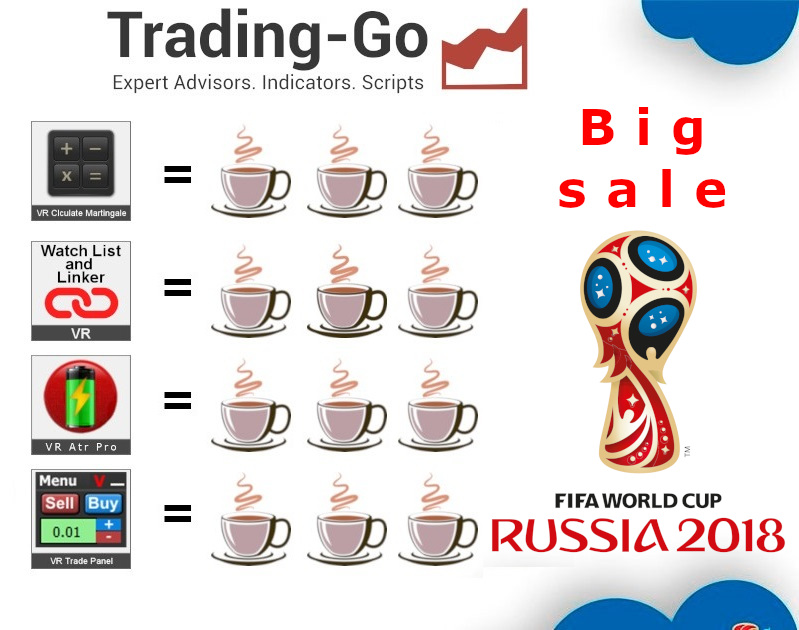 Big discount, like all Russia, in honor of the world Cup 2018 ! ! ! https://www.mql5.com/ru/users/voldemar/seller VR Calculyate https://www.mql5.com/ru/market/product/13628 VR Watch List https://www.mql5.com/ru/market/product/10341 VR Trade Panel https://www.mql5.com/ru/market/product/6838
