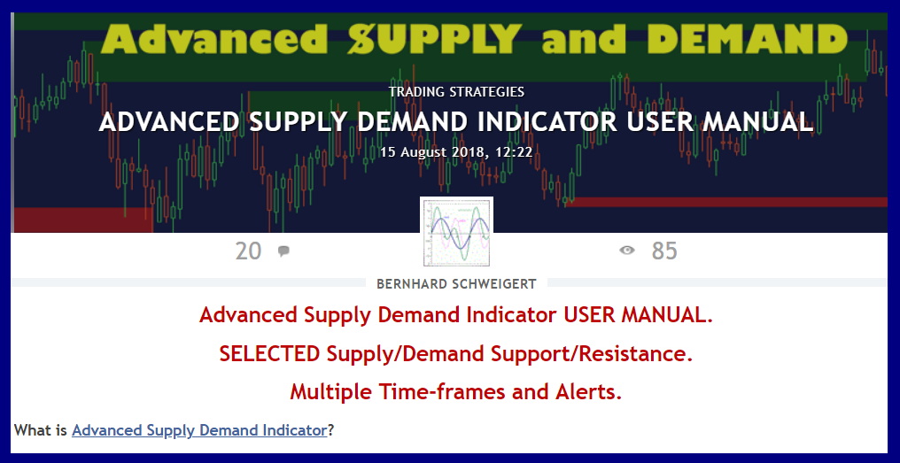 Advanced Supply Demand Indicator USER MANUAL !!! NEW !!! click here https://www.mql5.com/en/blogs/post/720245 The blog will be updated continuously and cover all frequently asked questions and how to use the indicator input parameters. So check it out from time to time. If you miss any question send me email on bernhardfxcontact@gmail.com then I will see to add the answers.
