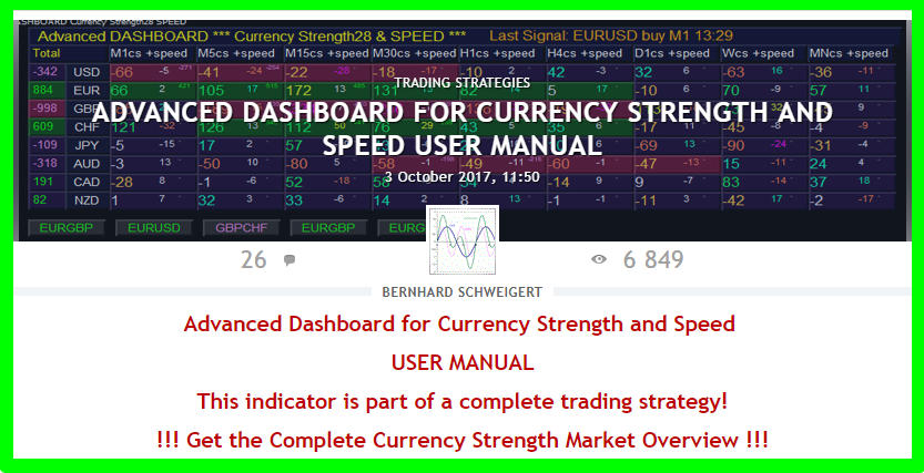 !!! Back to highest ratings !!! ====================================================================  Get the complete Market overview of Currency Strength with  Advanced Dashboard for Currency Strength and Speed (MT4)  User manual: https://www.mql5.com/en/blogs/post/708783  Video: https://youtu.be/7H-fhQZBDak  Get it here: https://www.mql5.com/en/market/product/25461  ====================================================================