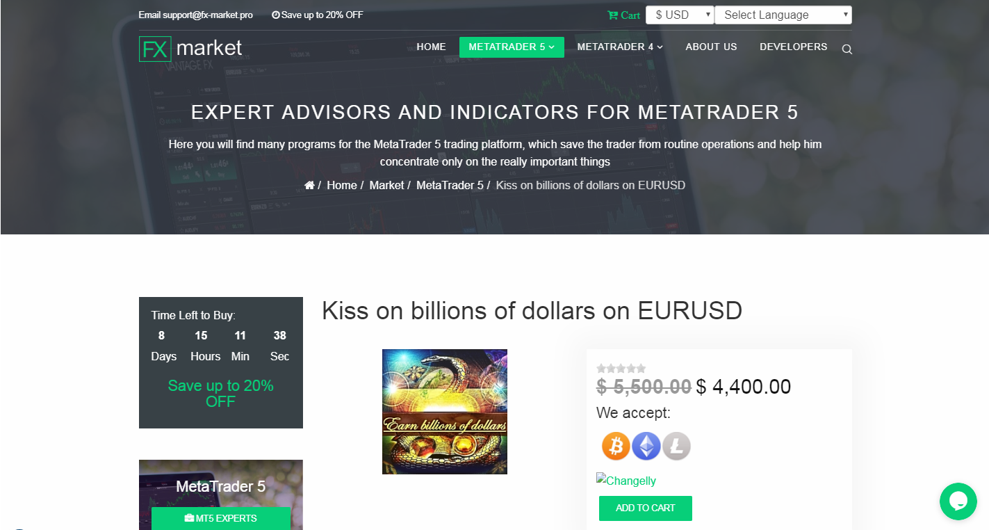 The following website is scam but base of my report Metaquotes will not make actions against them. https://fx-market.pro/market/mt5/product/kiss-on-billions-of-dollars-on-eurusd My products are only published in MQL5. And as long as I have not officially announced, finding products with my name is fake and counterfeit.