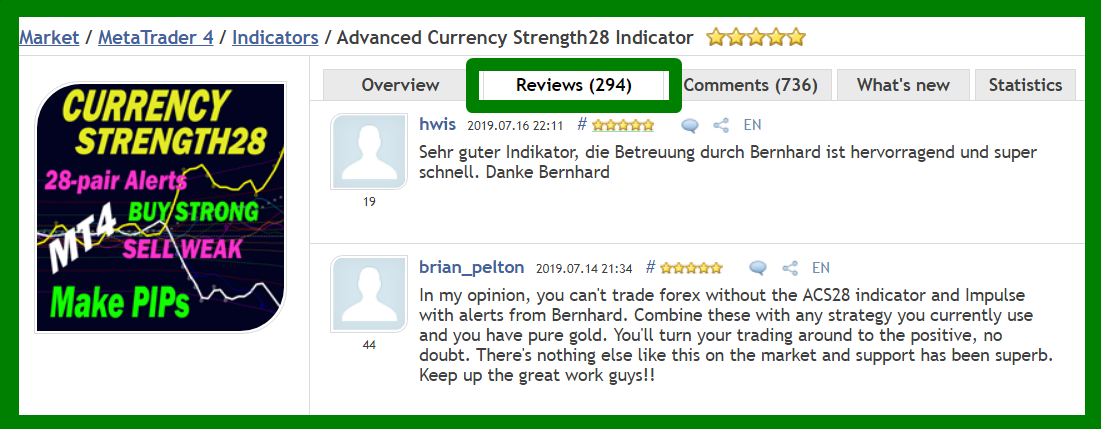 Dear trading friends, Wishing you and your loved ones a nice summer holiday season! Have you had a good trading week? I wanted to send you another reminder message about our main indicators. ___***** HUNDREDS of 5-STAR REVIEWS *****___ _______We got over the last few years_______ ++ Because we develop high-quality indicators. ++ Because we have excellent customer service. ++ Because we have a trading system. ++ Because we want YOU to be successful. ++ Because it is real. ***************************************************************** Advanced Currency Strength28 Indicator Version 5.0 290+ REVIEWS !!! https://www.mql5.com/en/market/product/13948#!tab=reviews Advanced Currency IMPULSE with ALERT Version 2.9 220+ REVIEWS !!! https://www.mql5.com/en/market/product/18155#!tab=reviews Advanced Supply Demand Version 2.6 70+ REVIEWS !!! https://www.mql5.com/en/market/product/20582#!tab=reviews ********************************************* The Trading Strategy:  https://www.mql5.com/en/blogs/post/679077  If you already own the indicator, update it to the newer version now for free and try it out. To Your Trading Success, Bernhard Have questions? Send me an email on bernhardfxcontact@gmail.com and get the full info. We will answer within 24 hours. You might need to check your Spam folder. www.CurrencyStrength28.com