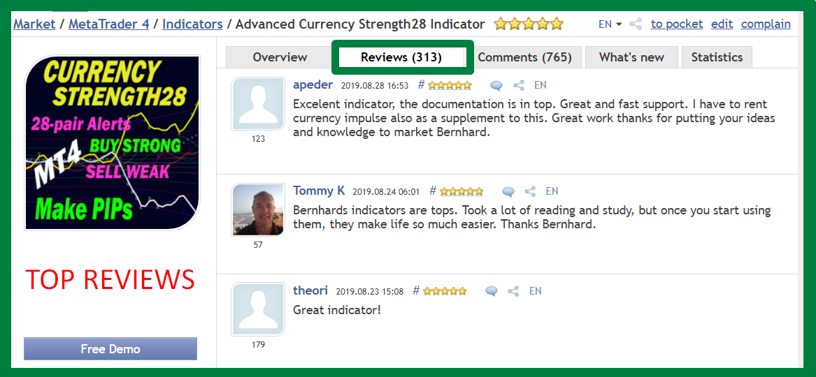 Dear trading friends,   Have you had a good trading week?  I wanted to send you another reminder message about our main indicators.   ___***** HUNDREDS of 5-STAR REVIEWS *****___  _______We got over the last few years_______   ++ Because we develop high-quality indicators.  ++ Because we have excellent customer service.  ++ Because we have a trading system.  ++ Because we want YOU to be successful.  ++ Because it is real.   *****************************************************************   Advanced Currency Strength28 Indicator Version 5.0  320+ REVIEWS !!!  https://www.mql5.com/en/market/product/13948#!tab=reviews   Advanced Currency IMPULSE with ALERT Version 2.9  230+ REVIEWS !!!  https://www.mql5.com/en/market/product/18155#!tab=reviews   Advanced Supply Demand Version 2.7  80+ REVIEWS !!!  https://www.mql5.com/en/market/product/20582#!tab=reviews   *********************************************   The Trading Strategy:  https://www.mql5.com/en/blogs/post/679077   If you already own the indicator, update it to the newer version now for free and try it out.   To Your Trading Success,  Bernhard   Have questions? Send me an email on bernhardfxcontact@gmail.com and get the full info.  We will answer within 24 hours. You might need to check your Spam folder.  www.CurrencyStrength28.com