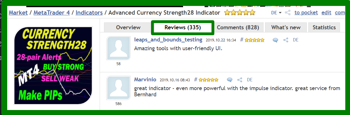 Dear trading friends, Have you had a good trading week? I wanted to send you another reminder message about our main indicators. ___***** HUNDREDS of 5-STAR REVIEWS *****___ _______We got over the last few years_______ ++ Because we develop high-quality indicators. ++ Because we have excellent customer service. ++ Because we have a trading system. ++ Because we want YOU to be successful. ++ Because it is real. ***************************************************************** Advanced Currency Strength28 Indicator Version 5.0 330+ REVIEWS !!! https://www.mql5.com/en/market/product/13948#!tab=reviews Advanced Currency IMPULSE with ALERT Version 2.9 250+ REVIEWS !!! https://www.mql5.com/en/market/product/18155#!tab=reviews Advanced Supply Demand Version 2.7 80+ REVIEWS !!! https://www.mql5.com/en/market/product/20582#!tab=reviews ********************************************* The Trading Strategy: https://www.mql5.com/en/blogs/post/679077 If you already own the indicator, update it to the newer version now for free and try it out. To Your Trading Success, Bernhard Have questions? Send me an email on bernhardfxcontact@gmail.com and get the full info. We will answer within 24 hours. You might need to check your Spam folder. www.CurrencyStrength28.com