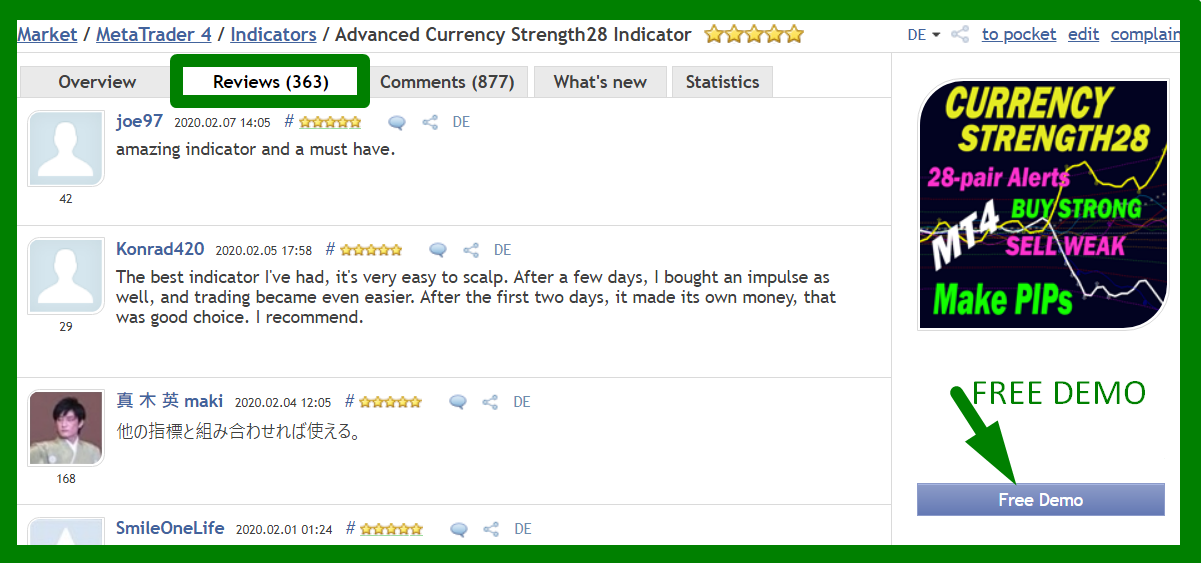 ___***** HUNDREDS of 5-STAR REVIEWS *****___  _______We got over the last few years_______   ++ Because we develop high-quality indicators.  ++ Because we have excellent customer service.  ++ Because we have a trading system.  ++ Because we want YOU to be successful.  ++ Because it is real.   *****************************************************************   Advanced Currency Strength28 Indicator Version 5.1  360+ REVIEWS !!!  https://www.mql5.com/en/market/product/13948#!tab=reviews   Advanced Currency IMPULSE with ALERT Version 2.9  270+ REVIEWS !!!  https://www.mql5.com/en/market/product/18155#!tab=reviews   Advanced Supply Demand Version 2.9  90+ REVIEWS !!!  https://www.mql5.com/en/market/product/20582#!tab=reviews   *********************************************   The Trading Strategy:  https://www.mql5.com/en/blogs/post/679077   If you already own the indicator, update it to the newer version now for free and try it out.   To Your Trading Success,  Bernhard   Have questions? Send me an email on bernhardfxcontact@gmail.com and get the full info.  We will answer within 24 hours. You might need to check your Spam folder.  www.CurrencyStrength28.com