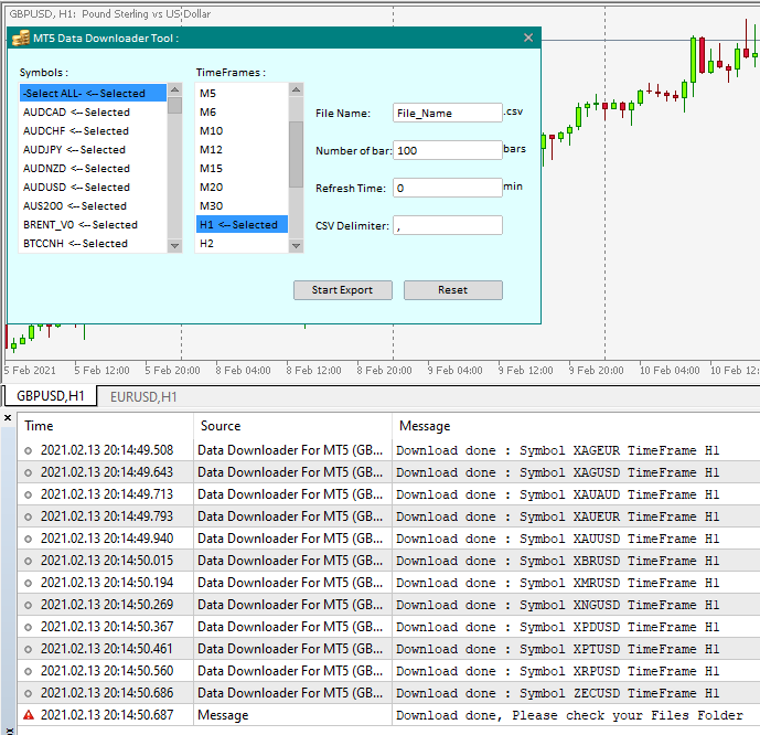 The New version of Data Downloader For MT5 is available :  https://www.mql5.com/en/market/product/28069?source=Site   What's new :  1- Sorted Symbol list. 2- Select ALL symbols Option. 3- Save the selected symbols and TimeFrames.