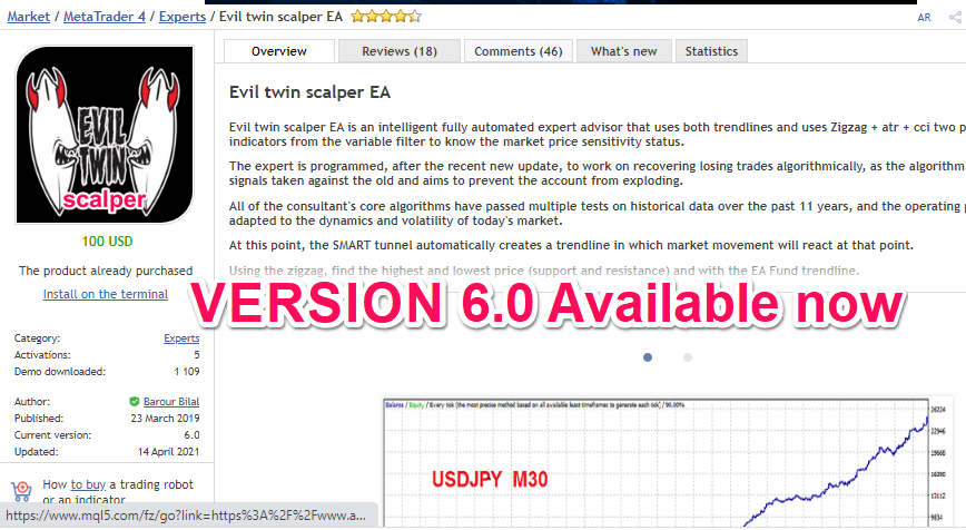 Evil twin scalper EA is an intelligent fully automated expert advisor that uses both trendlines and uses Zigzag + atr + cci two piriod and rsi filtering indicators from the variable filter to know the market price sensitivity status.  The expert is programmed, after the recent new update, to work on recovering losing trades algorithmically, as the algorithm opens trades based on signals taken against the old and aims to prevent the account from exploding.  All of the consultant's core algorithms have passed multiple tests on historical data over the past 11 years, and the operating principle is optimally adapted to the dynamics and volatility of today's market.  https://www.mql5.com/en/market/product/36987?source=Site+Profile+Seller