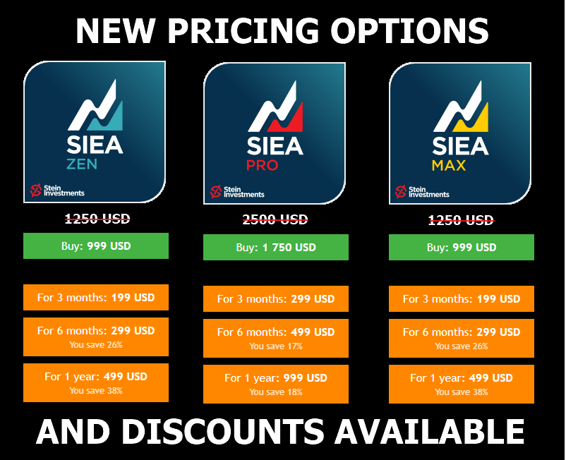 """‼️NEW PRICES & DISCOUNTS‼️  ⭐️ Join us and enjoy our professional SIEA trading systems ⭐️  SIEA ZEN - the """"peace of mind"""" version with great profits and low drawdowns, ideal for everyone, beginners and pros https://www.mql5.com/en/market/product/67755   SIEA MAX - the advanced version with higher profits but longer floating drawdown periods, ideal for experienced traders https://www.mql5.com/en/market/product/67756   SIEA PRO - the fully customizable SIEA version to create the most suitable setup yourself, ideal for professional traders https://www.mql5.com/en/market/product/67757   All the best and see you soon Daniel & Alain"""