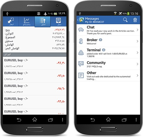 We continue to develop the MetaTrader 4 application for Android and keep adding more features. One technical innovation implemented in the latest build is the classification of messages. All messages received from the system are divided into 5 types according to their senders: Chat (conversations with MQL5.com users), Broker (broker's messages), Terminal (alerts and notifications from launched Expert Advisors), Community (various messages from MQL5.com, including depositing funds on the account or execution of any ordered work) and Other (anything that is not related to the previous 4 types). This feature first appeared in the MetaTrader iOS mobile platforms and is now available to Android users.  Download MetaTrader 4 in Google Play for Free: https://download.mql5.com/cdn/mobile/mt4/android?utm_campaign=MQL5.community