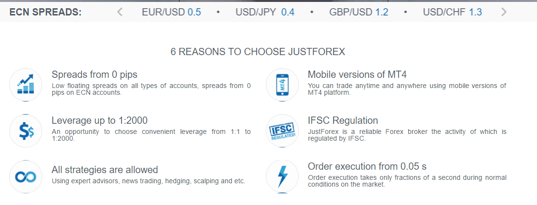 6 REASONS TO CHOOSE JUSTFOREX