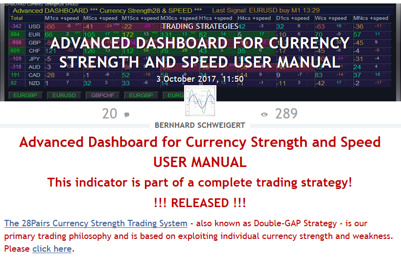 For a better and faster service please send your questions  Via email to bernhardfxcontact@gmail.com  Or via Skype (bernardo33), you can also click on the Skype button in the right corner of my profile picture.   Now... Our best and new indicator:  Get the complete Market overview with  Advanced Dashboard for Currency Strength and Speed (MT4)  https://www.mql5.com/en/market/product/25461  I will update the user manual in the coming days. So be sure to read it. The manual is here:  https://www.mql5.com/en/blogs/post/708783
