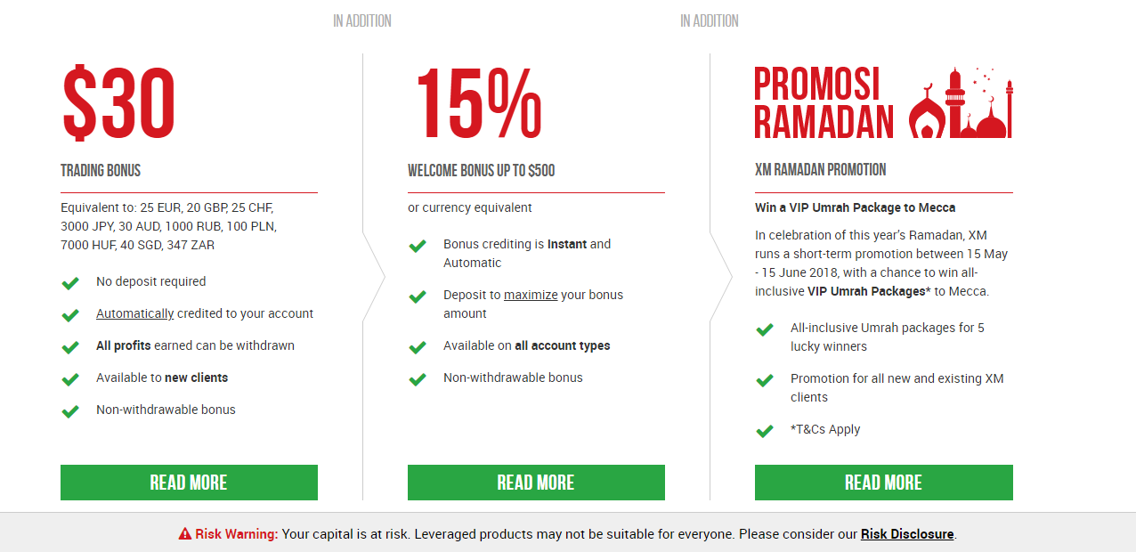 Promotions and Bonuses  ==> https://clicks.pipaffiliates.com/c?c=326703&l=en&p=6  - $30 TRADING BONUS (No deposit required)  - 15% WELCOME BONUS UP TO $500 (or currency equivalent)  - RAMADAN PROMOTION (Win a VIP Umrah Package to Mecca)  - LOYALTY PROGRAM  - FREE VPS SERVICES  - ZERO FEES ON DEPOSITS & WITHDRAWALS