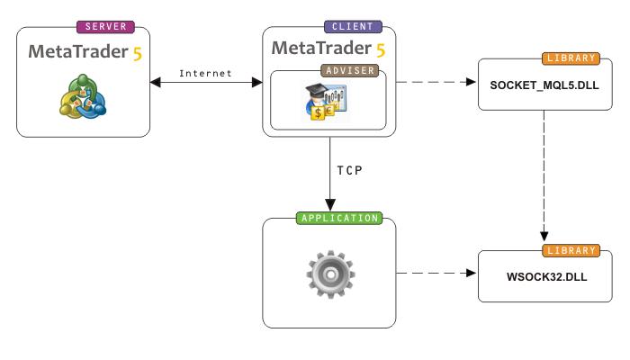 Схема взаимодействия MetaTrader 5 с серверным приложением