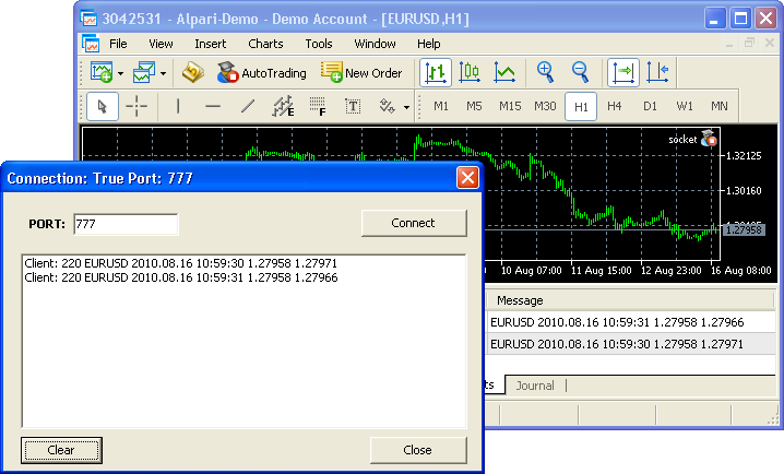 Data transfer from MetaTrader 5 to server application
