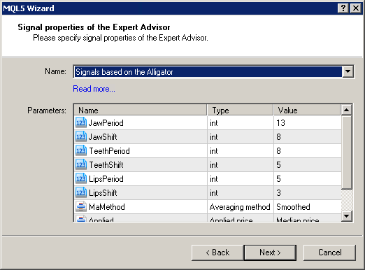 """Figure 2. Select """"Signals based on the Alligator"""" in MQL5 Wizard"""
