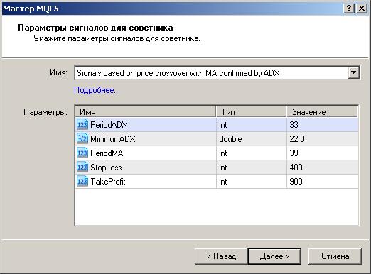 Рисунок 2. Выбор модуля сигналов пересечения ценой скользящей средней с подтверждением от ADX в Мастере MQL5