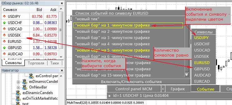 Выбор событий панели iControl panel MCM