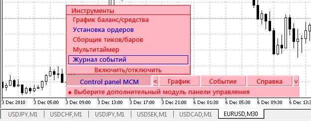 Дополнительные инструменты панели индикатора iControl panel MCM