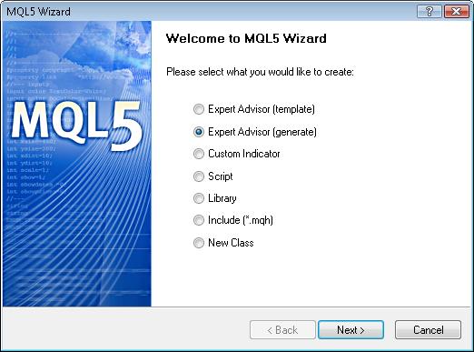 Fig. 4. Crear el Asesor Experto usando el Asistente de MQL5
