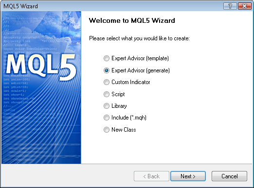 Fig. 4. Creating Expert Advisor using MQL5 Wizard