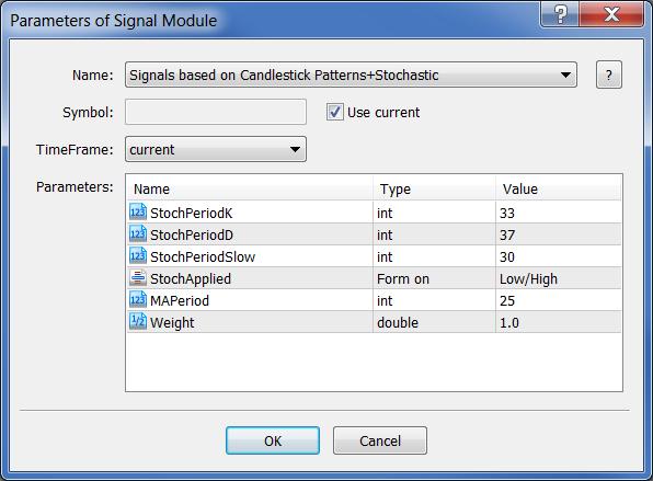 """图例. 1. 在 MQL5 向导中选择 """"基于 K 线形态+Stochastic 信号"""" 交易信号生成器"""