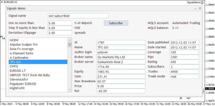 Fig. 2. Controls de Trade de señales en MetaTrader 4. EA SignalsDemo