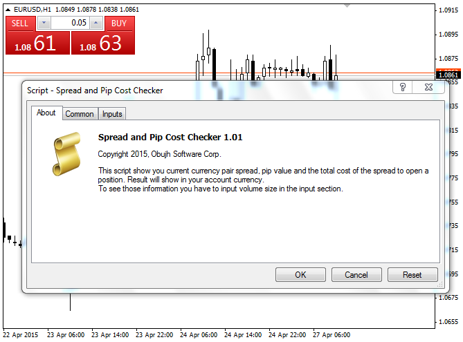 Free download of the 'Spread and Pip Cost Checker' script by