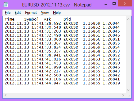 CSV Output in Notepad