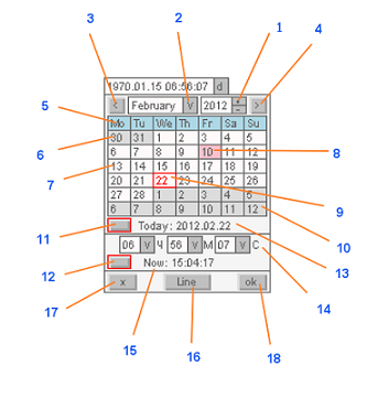 The tab of the CCalendarInput control element