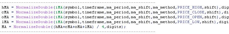Пример расчета среднего значения МА