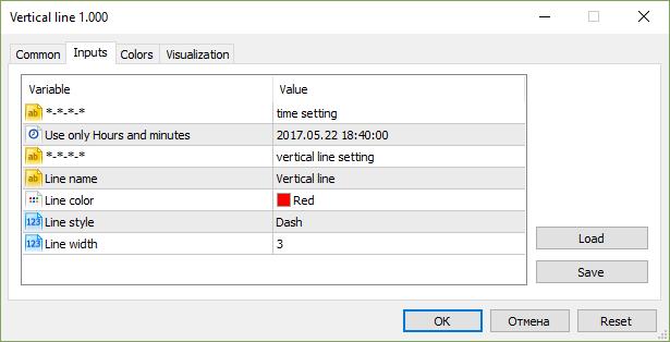 Vertical line, inputs