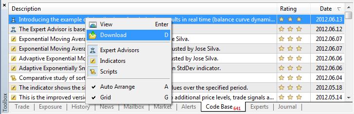 Fig. 1. Downloading CodeBase programs via MetaTrader 5 terminal