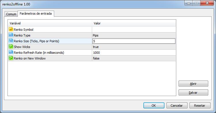 Renko 2.0 Offline: parameters