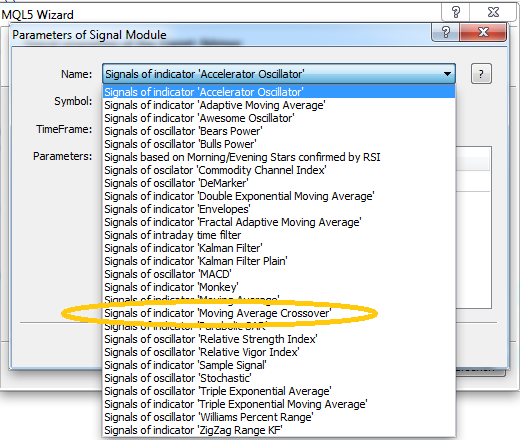 Signal visible in Expert Advisor Wizard