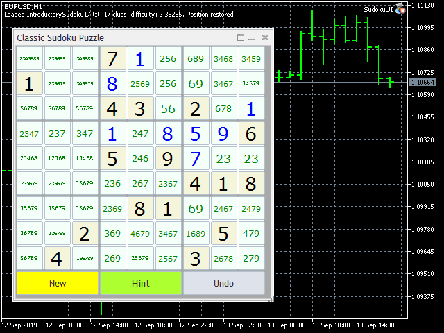 Sudoku with automatic hint on candidates