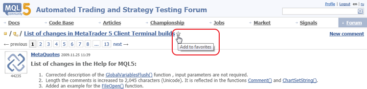 Add Forum topic to Favorites