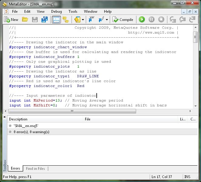 図1 インディケータコードコンパイルの成功