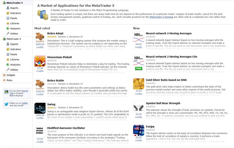 El Mercado es la tienda de aplicaciones en la página MQL5.community