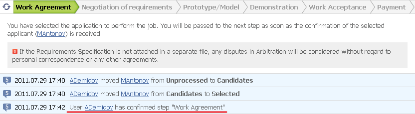 "Figure 10. Confirmation of the ""Work Agreement"" step by the Customer"