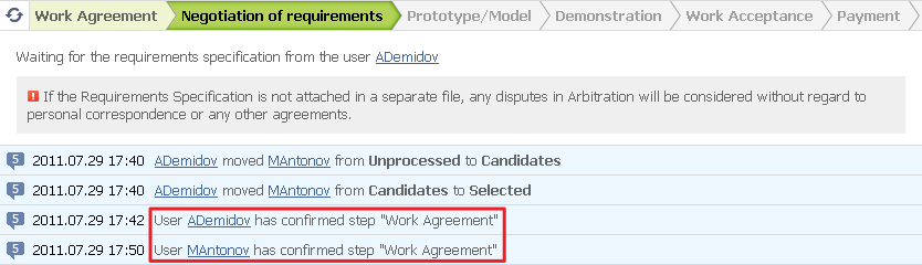 "Figure 12. The ""Work Agreement"" step confirmed by both parties"