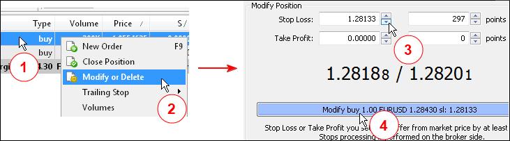 图 3. 设置持仓的止损水平。