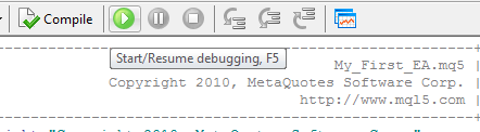 Figure 12. Starting the Debugger