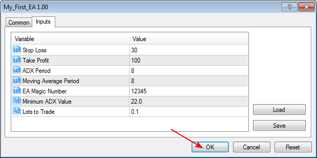 Figure 14. Expert Advisor Input Parameters for Debugging