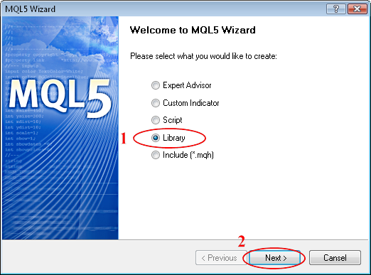 Figure 2. MQL5 Wizard: Create Library