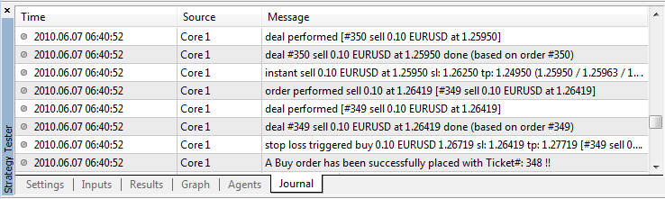 Figure 31. The Strategy Tester Journal tab showing trade activities