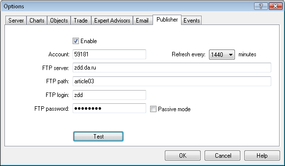 Figure 4. Options of publishing report via FTP.