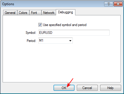 Figure 9. Debugger options window