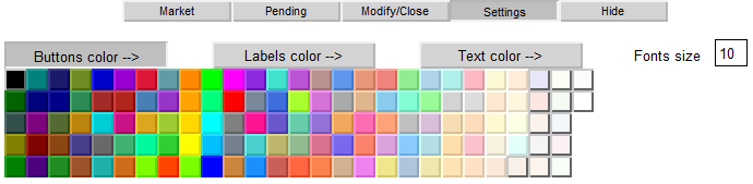 Figure 15. Setting the colors of buttons