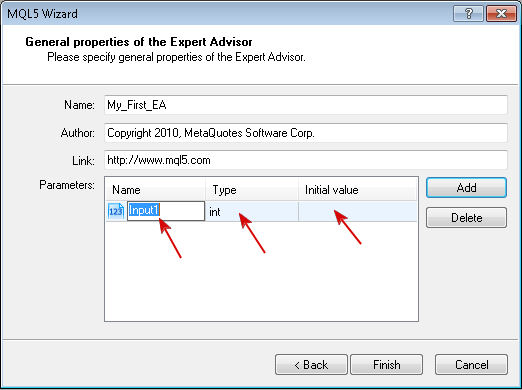 Figure 4. Setting EA input parameters